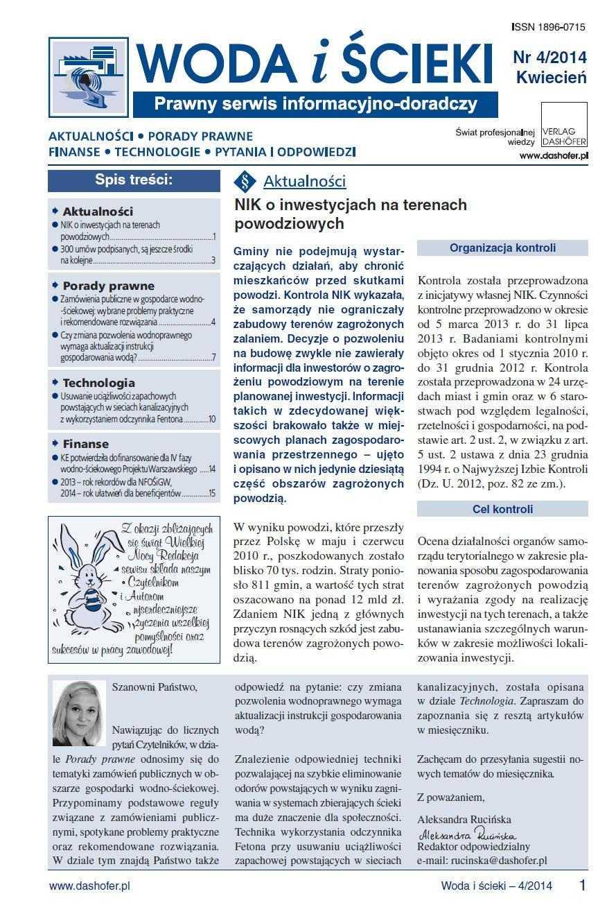 Woda i ścieki. Prawny serwis informacyjno-doradczy. Nr 4/2014 - Ebook (Książka PDF) do pobrania w formacie PDF
