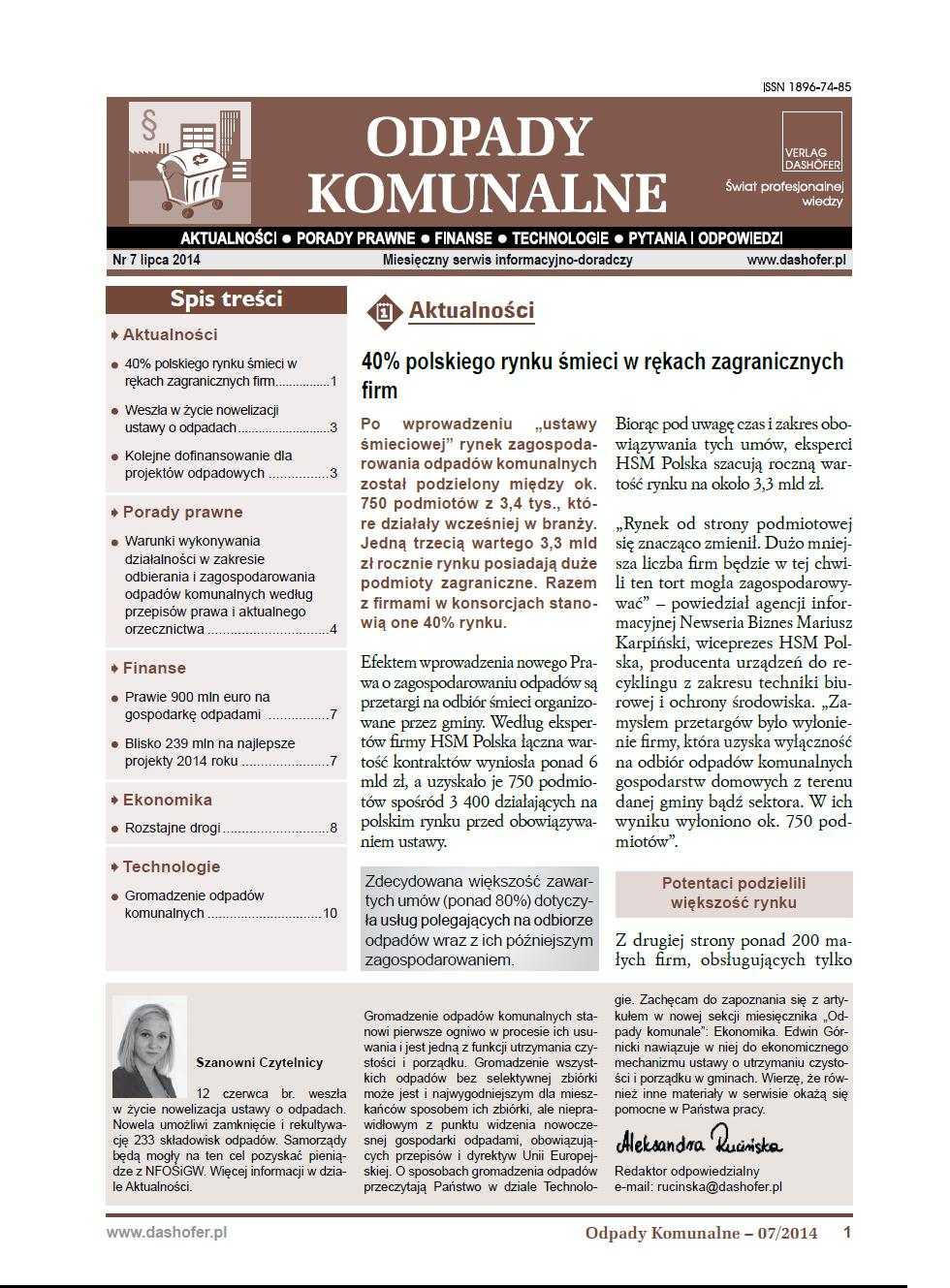 Odpady komunalne. Nr 7/2014 - Ebook (Książka PDF) do pobrania w formacie PDF