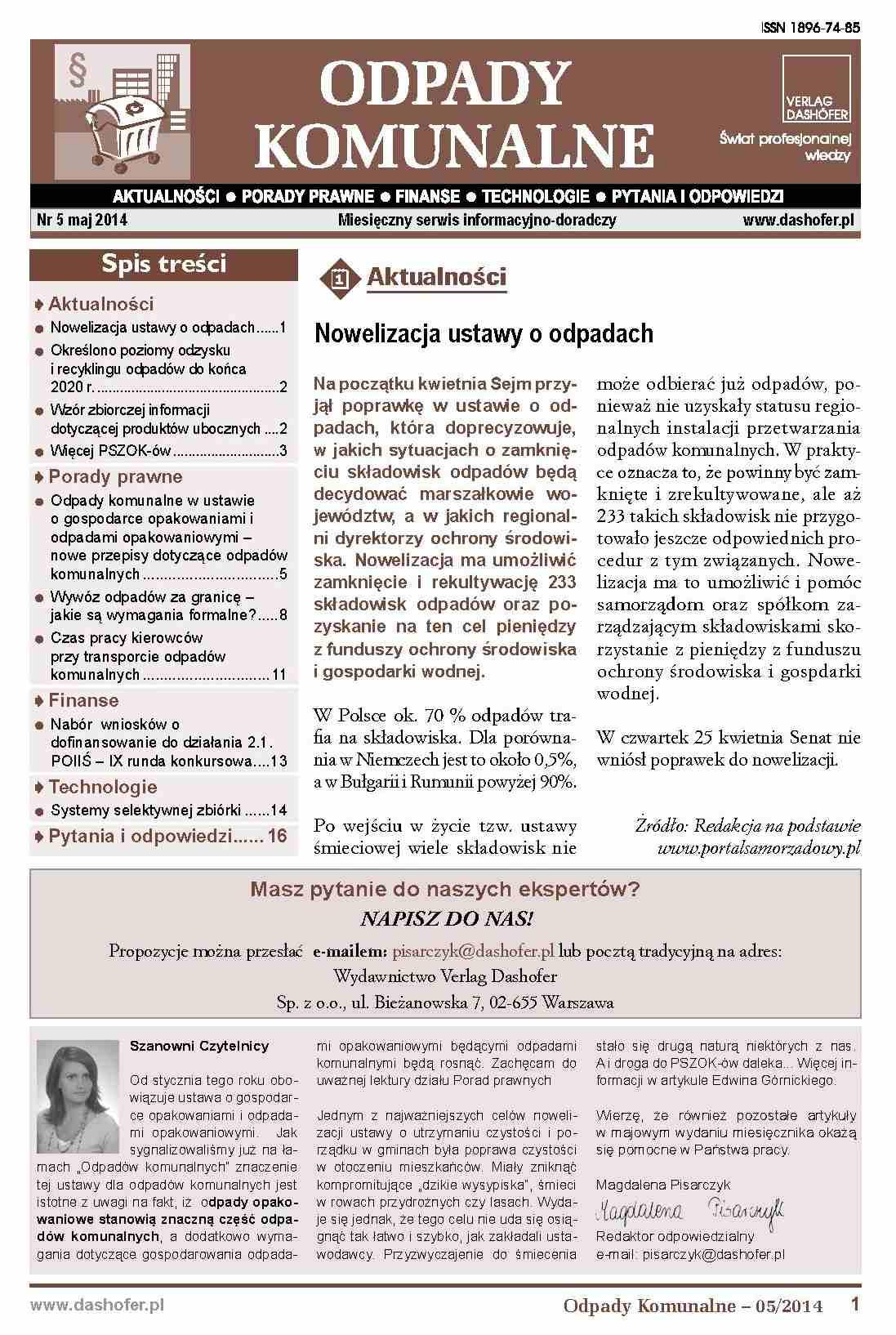 Odpady komunalne. Nr 5/2014 - Ebook (Książka PDF) do pobrania w formacie PDF