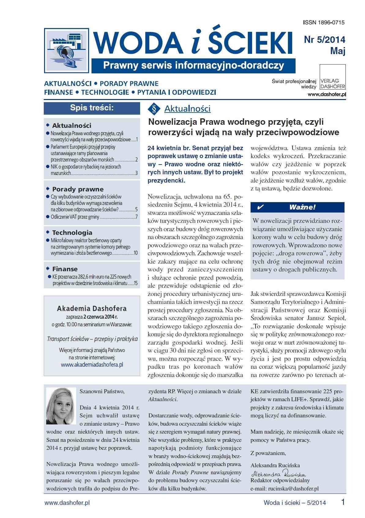 Woda i ścieki. Prawny serwis informacyjno-doradczy. Nr 5/2014 - Ebook (Książka PDF) do pobrania w formacie PDF