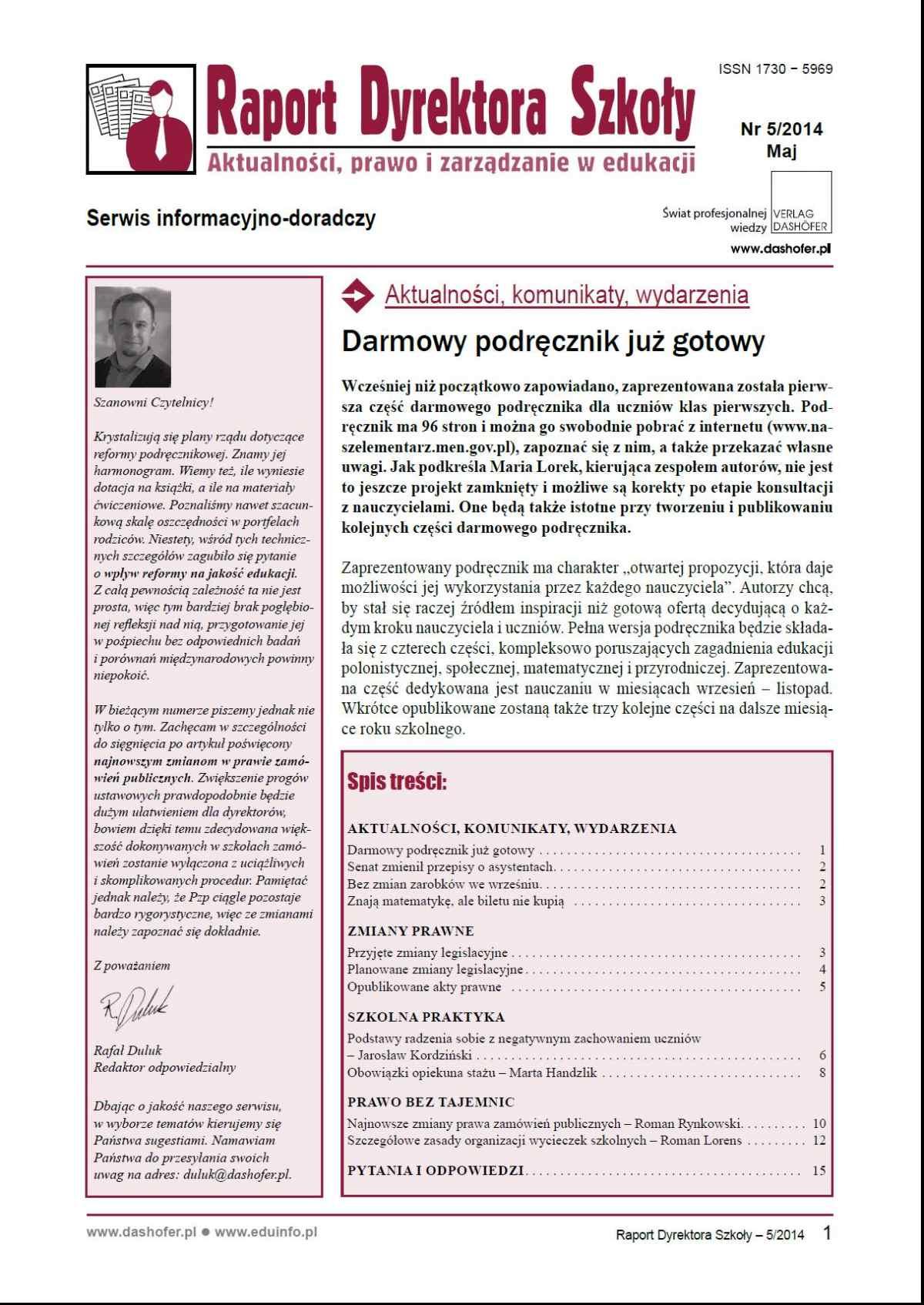 Raport Dyrektora Szkoły. Aktualności, prawo i zarządzanie w edukacji. Nr 5/2014 - Ebook (Książka PDF) do pobrania w formacie PDF