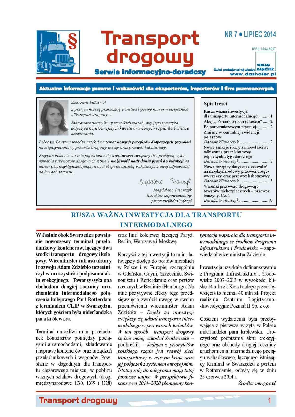 Transport drogowy. Aktualne informacje prawne i wskazówki dla eksporterów, importerów i firm przewozowych. Nr 7/2014 - Ebook (Książka PDF) do pobrania w formacie PDF