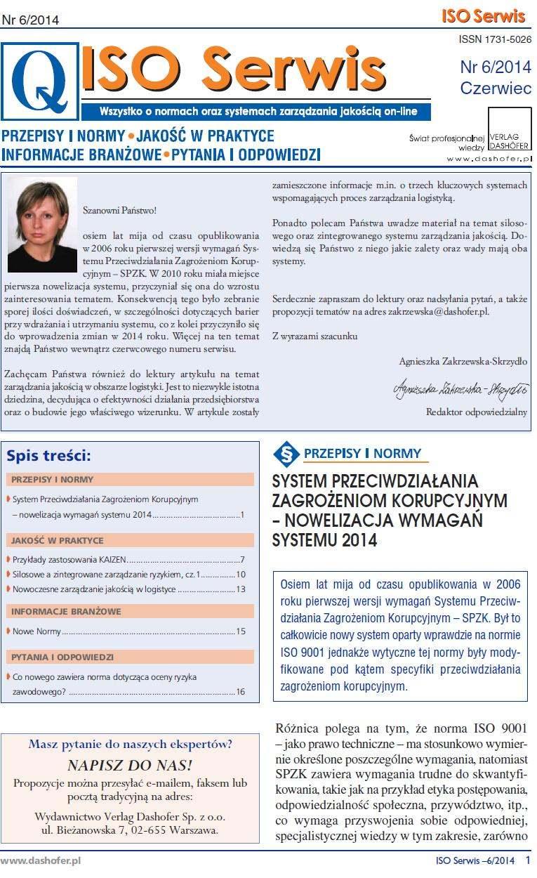 ISO Serwis. Wszystko o normach i systemach zarządzania jakością. Nr 6/2014 - Ebook (Książka PDF) do pobrania w formacie PDF