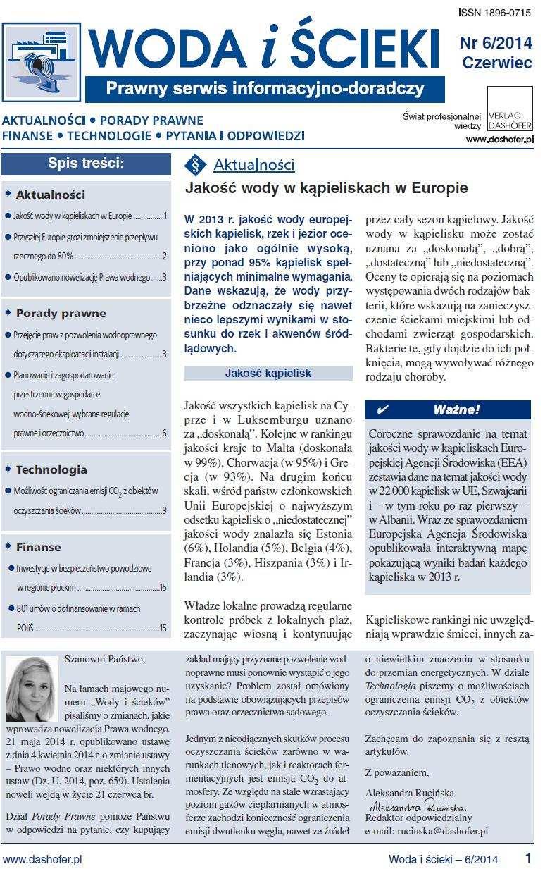 Woda i ścieki. Prawny serwis informacyjno-doradczy. Nr 6/2014 - Ebook (Książka PDF) do pobrania w formacie PDF
