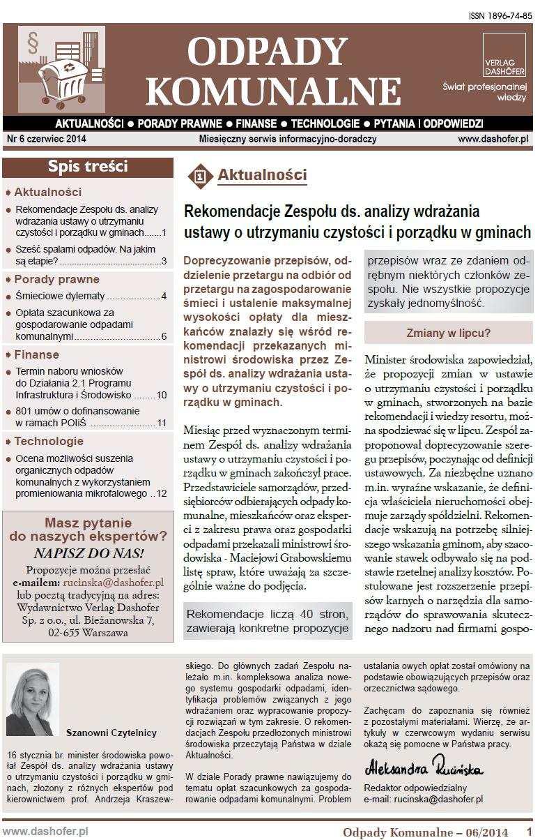Odpady komunalne. Nr 6/2014 - Ebook (Książka PDF) do pobrania w formacie PDF