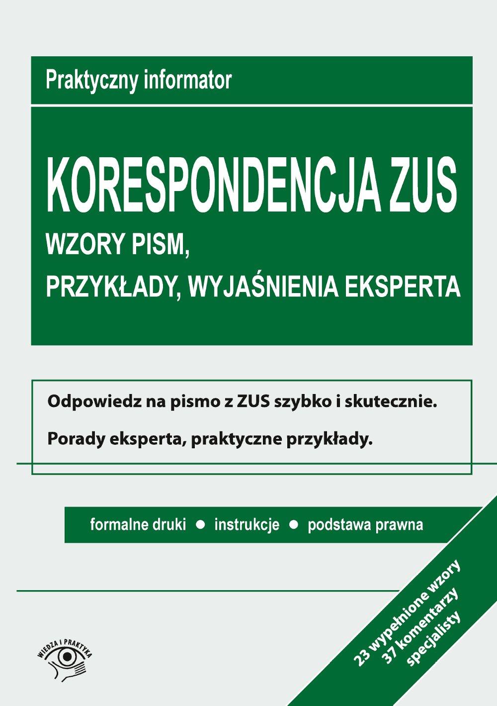 Korespondencja z ZUS. Wzory pism, przykłady, wyjaśnienia eksperta - Ebook (Książka EPUB) do pobrania w formacie EPUB