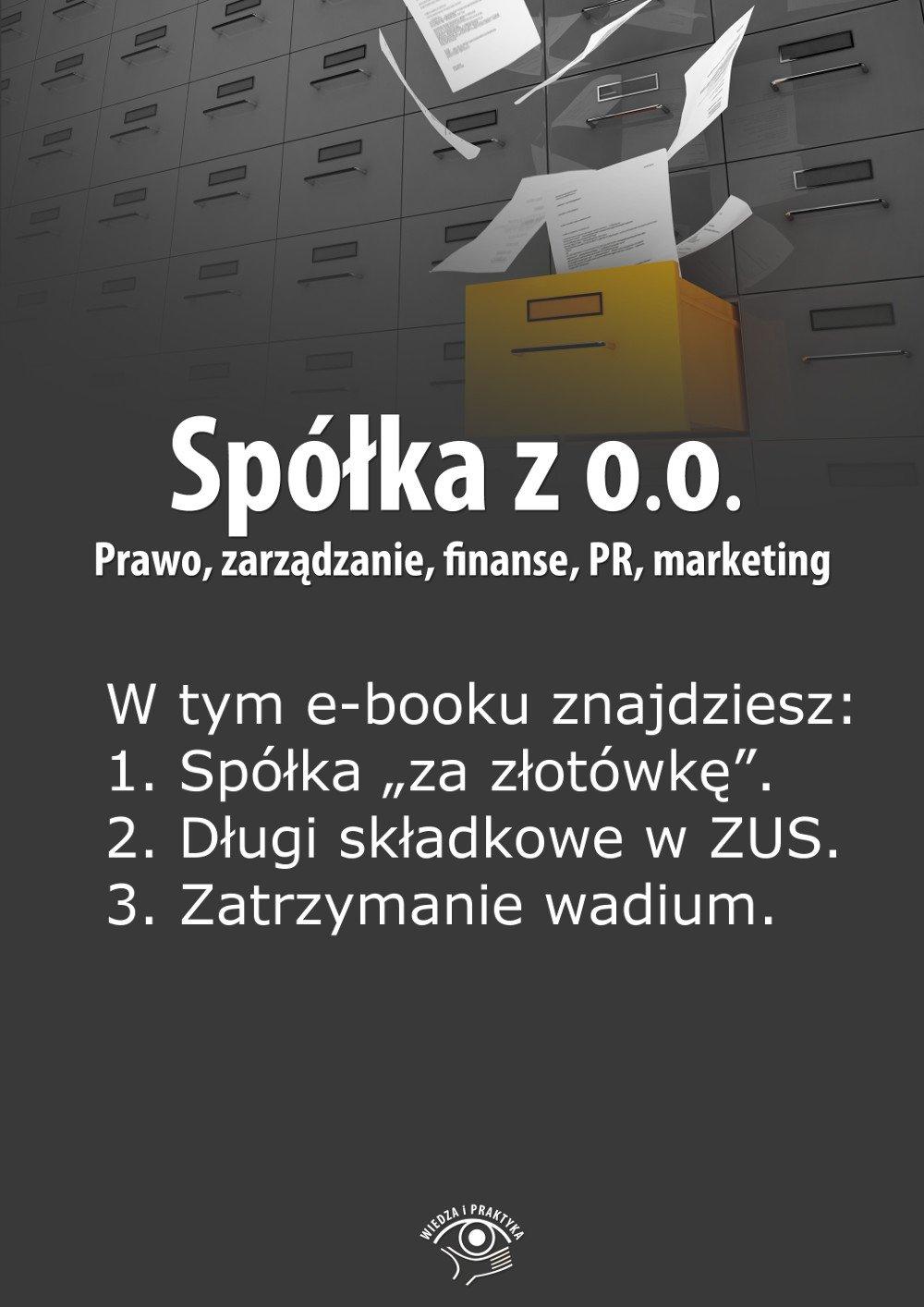Spółka z o.o. Prawo, zarządzanie, finanse, PR, marketing. Wydanie lipiec 2014 r. - Ebook (Książka EPUB) do pobrania w formacie EPUB