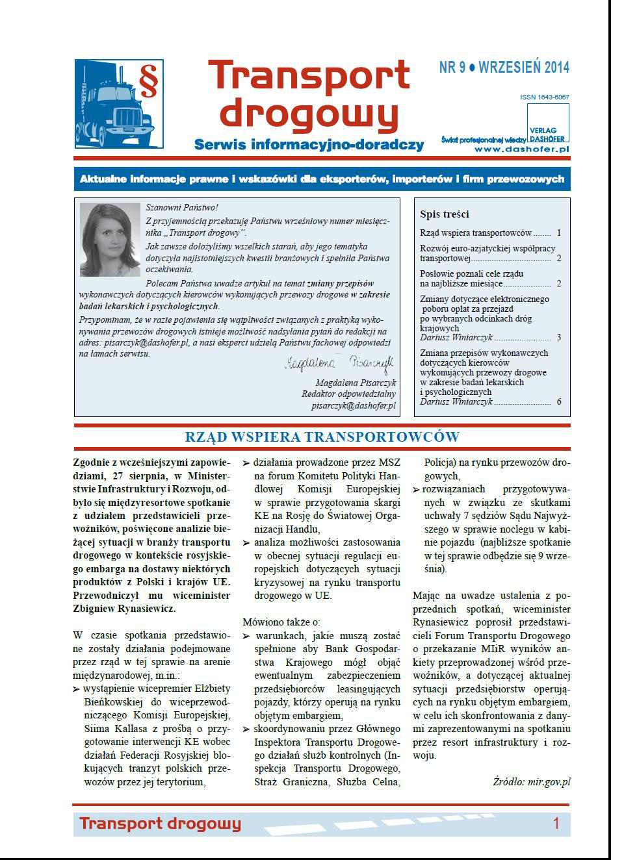 Transport drogowy. Aktualne informacje prawne i wskazówki dla eksporterów, importerów i firm przewozowych. Nr 9/2014 - Ebook (Książka PDF) do pobrania w formacie PDF