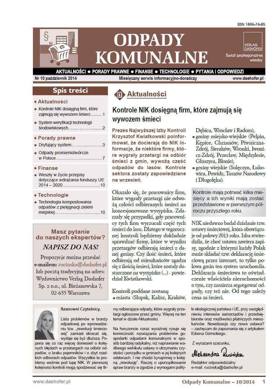 Odpady komunalne. Nr 10/2014 - Ebook (Książka PDF) do pobrania w formacie PDF