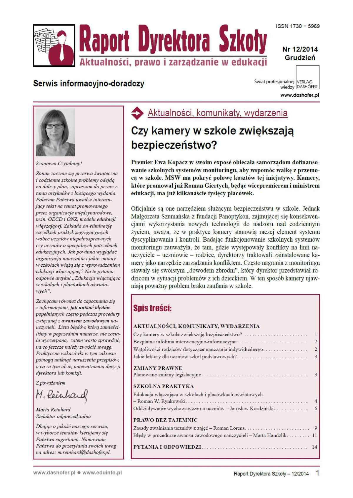 Raport Dyrektora Szkoły. Aktualności, prawo i zarządzanie w edukacji. Nr 12/2014 - Ebook (Książka PDF) do pobrania w formacie PDF