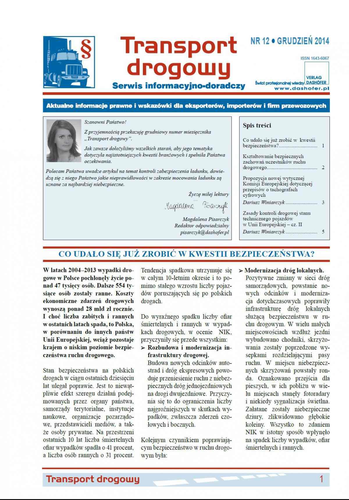 Transport drogowy. Aktualne informacje prawne i wskazówki dla eksporterów, importerów i firm przewozowych. Nr 12/2014 - Ebook (Książka PDF) do pobrania w formacie PDF