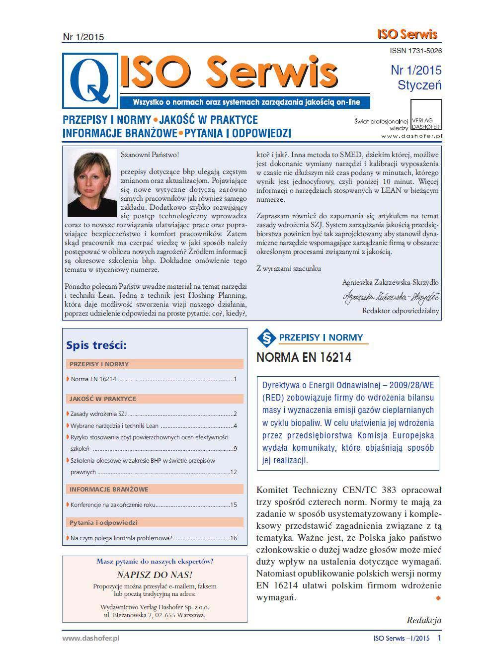 ISO Serwis. Wszystko o normach i systemach zarządzania jakością. Nr 1/2015 - Ebook (Książka PDF) do pobrania w formacie PDF