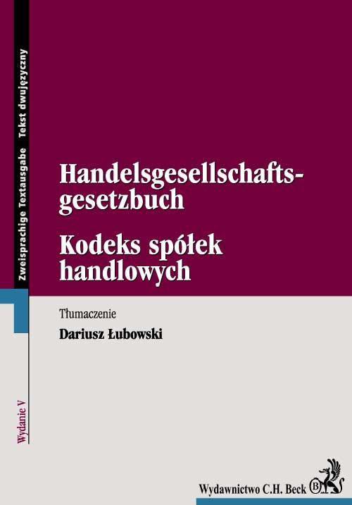 Kodeks spółek handlowych. Handelsgesellschaftsgesetzbuch - Ebook (Książka PDF) do pobrania w formacie PDF