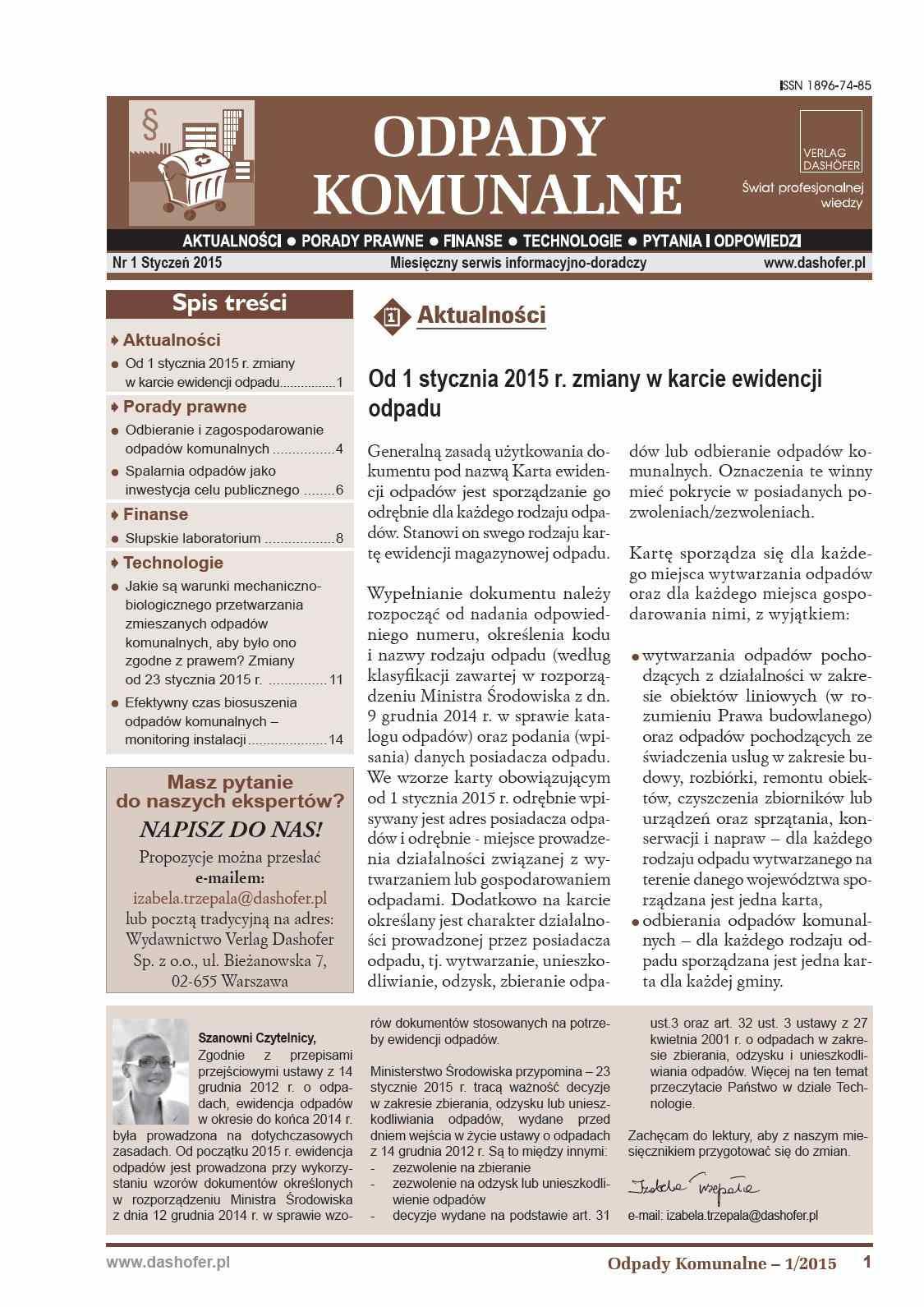 Odpady komunalne. Nr 1/2015 - Ebook (Książka PDF) do pobrania w formacie PDF