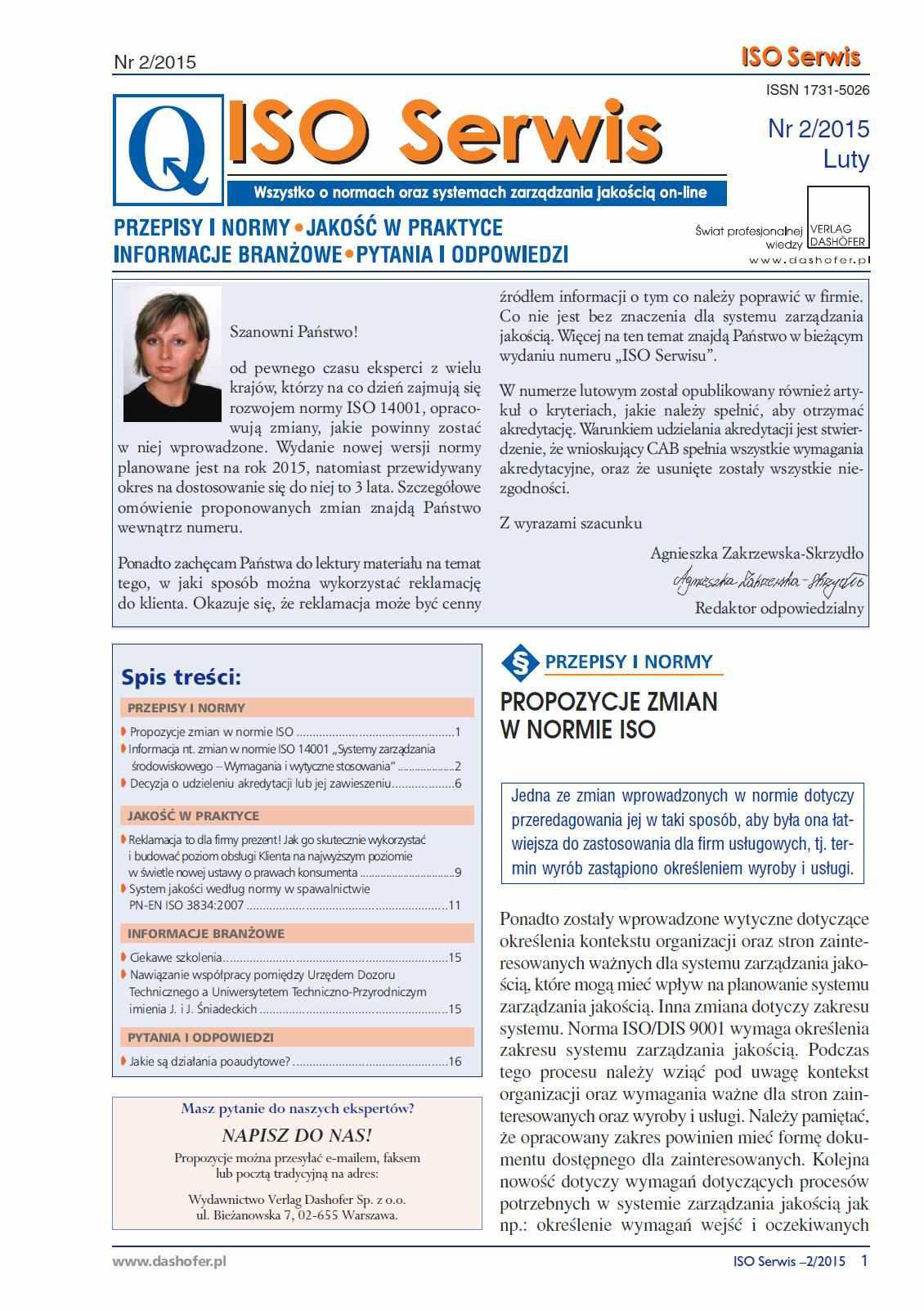 ISO Serwis. Wszystko o normach i systemach zarządzania jakością. Nr 2/2015 - Ebook (Książka PDF) do pobrania w formacie PDF