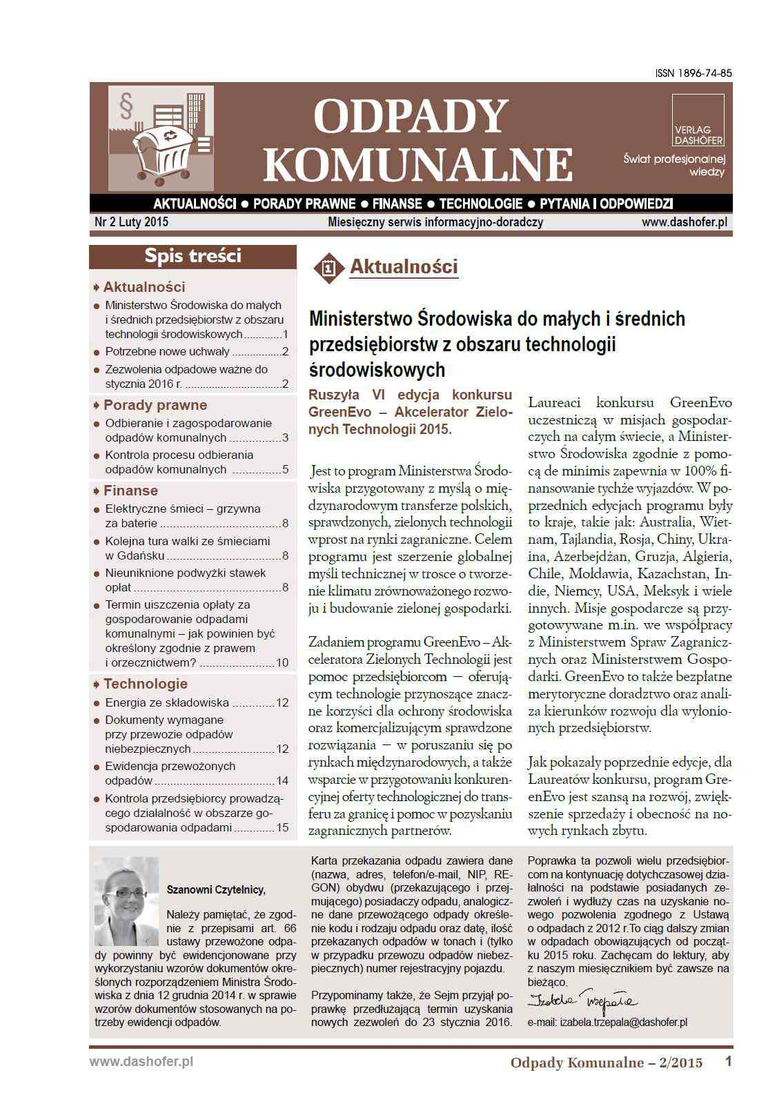 Odpady komunalne. Nr 2/2015 - Ebook (Książka PDF) do pobrania w formacie PDF