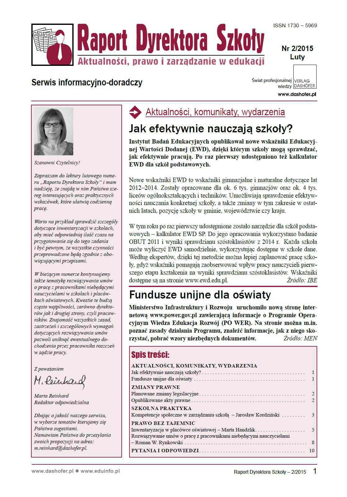 Raport Dyrektora Szkoły. Aktualności, prawo i zarządzanie w edukacji. Nr 2/2015 - Ebook (Książka PDF) do pobrania w formacie PDF