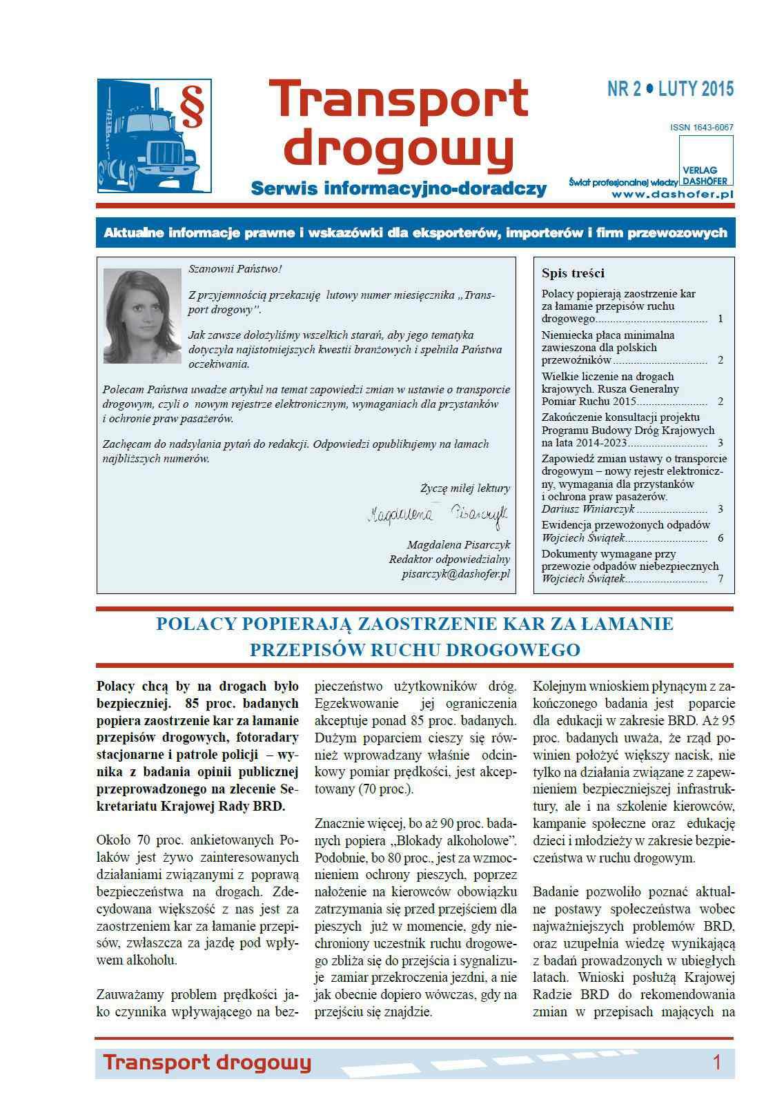 Transport drogowy. Aktualne informacje prawne i wskazówki dla eksporterów, importerów i firm przewozowych. Nr 2/2015 - Ebook (Książka PDF) do pobrania w formacie PDF