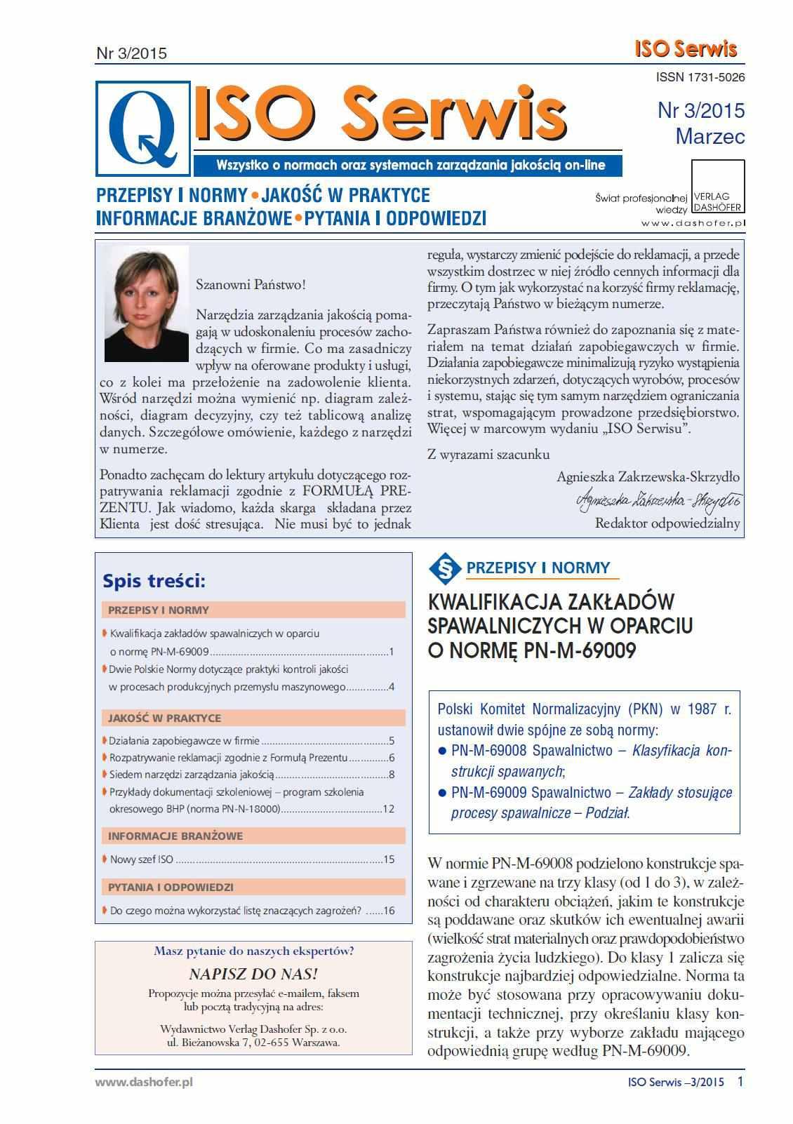 ISO Serwis. Wszystko o normach i systemach zarządzania jakością. Nr 3/2015 - Ebook (Książka PDF) do pobrania w formacie PDF