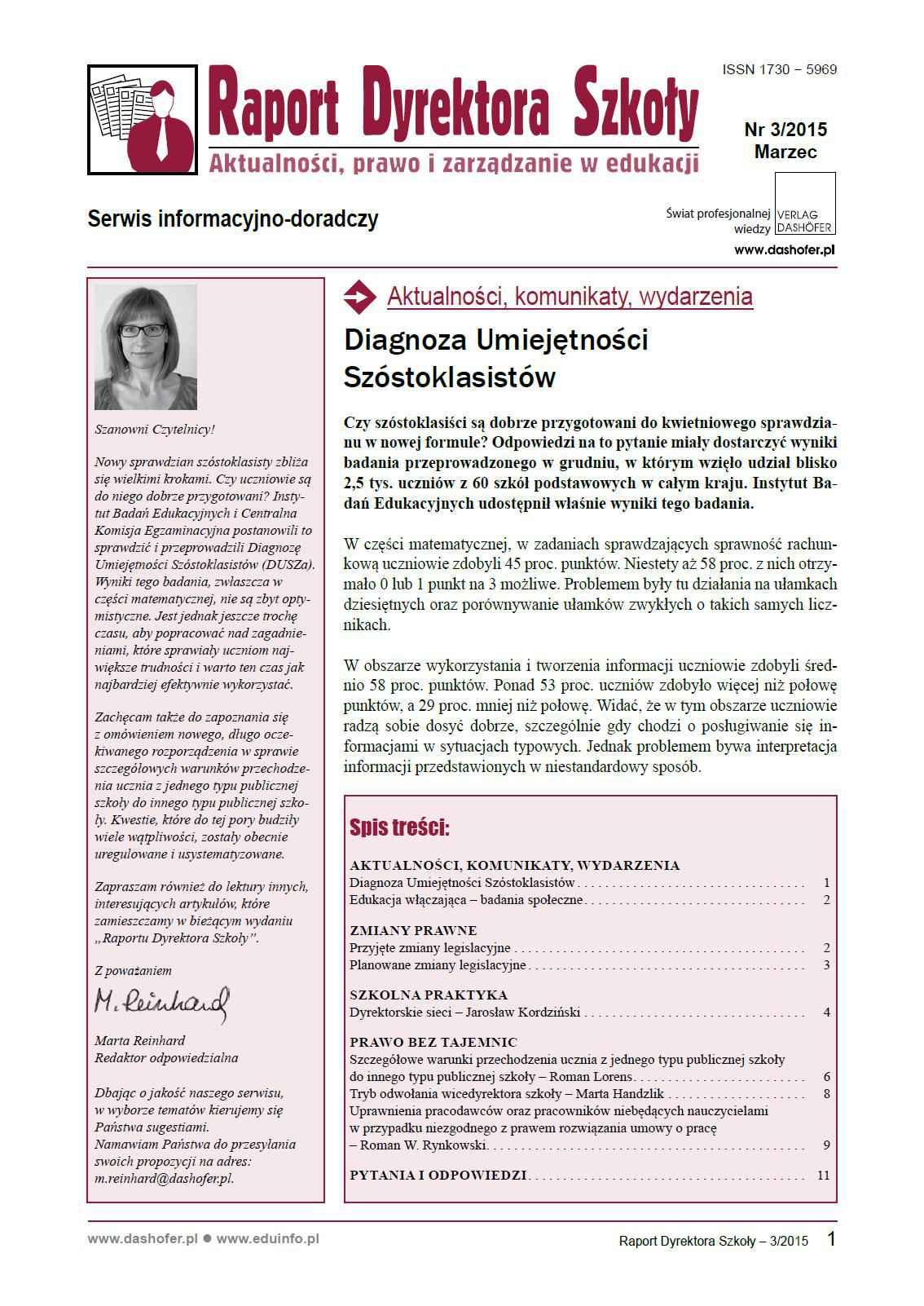 Raport Dyrektora Szkoły. Aktualności, prawo i zarządzanie w edukacji. Nr 3/2015 - Ebook (Książka PDF) do pobrania w formacie PDF