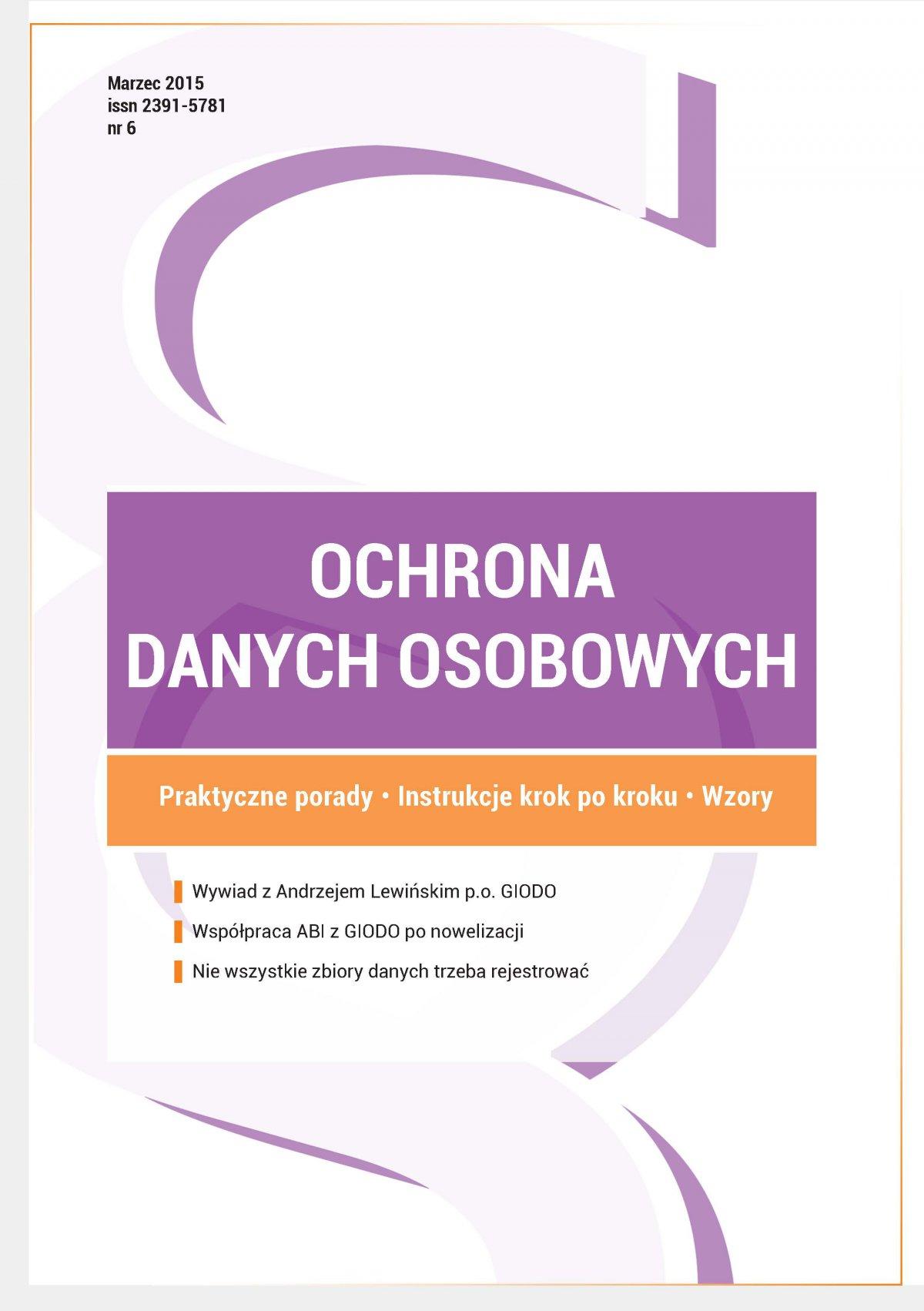 Ochrona danych osobowych - wydanie marzec 2015 r. - Ebook (Książka PDF) do pobrania w formacie PDF