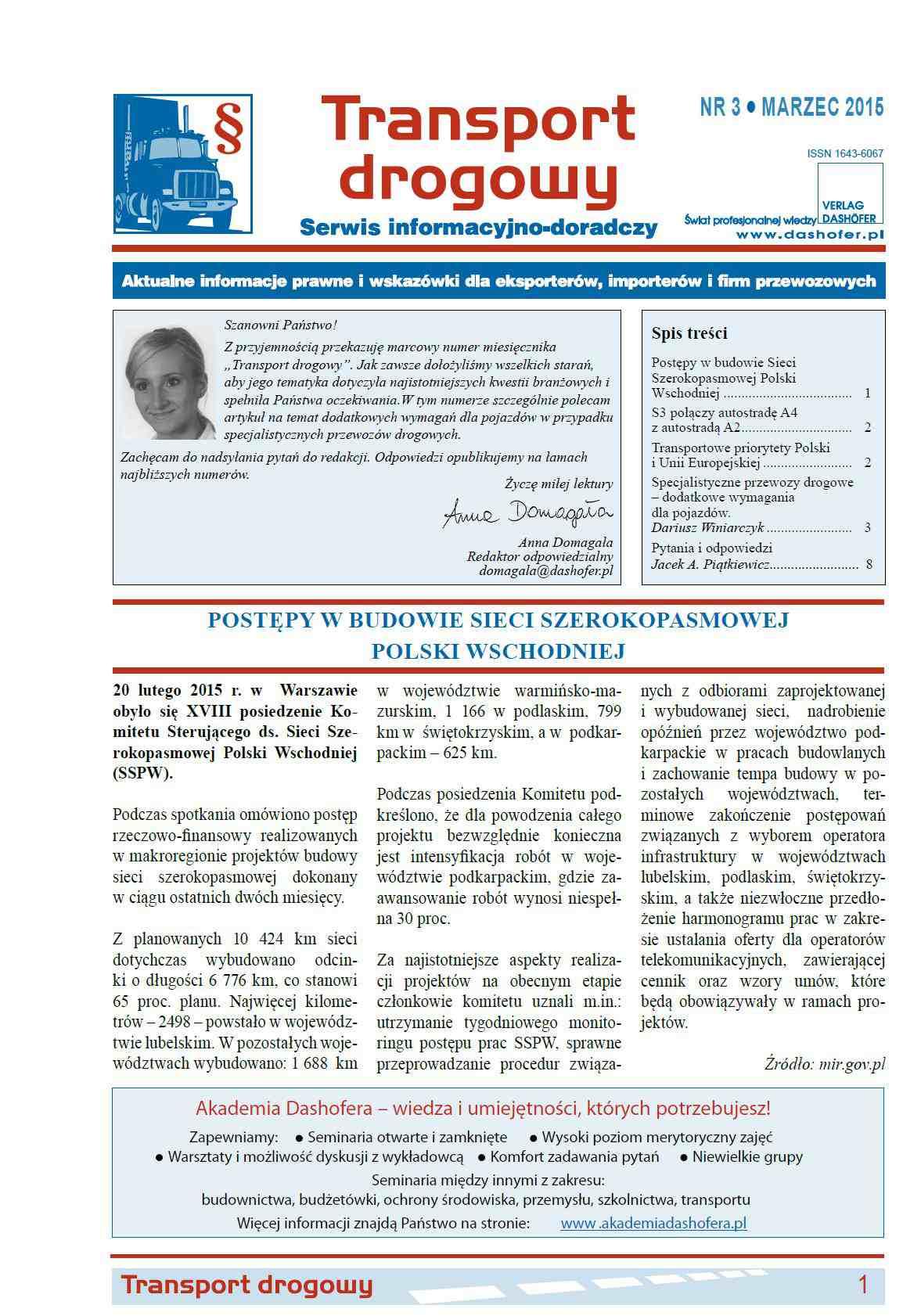 Transport drogowy. Aktualne informacje prawne i wskazówki dla eksporterów, importerów i firm przewozowych. Nr 3/2015 - Ebook (Książka PDF) do pobrania w formacie PDF