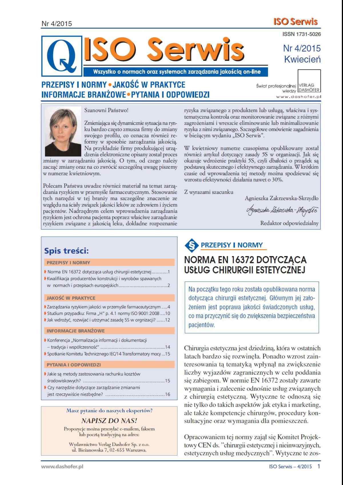 ISO Serwis. Wszystko o normach i systemach zarządzania jakością. Nr 4/2015 - Ebook (Książka PDF) do pobrania w formacie PDF