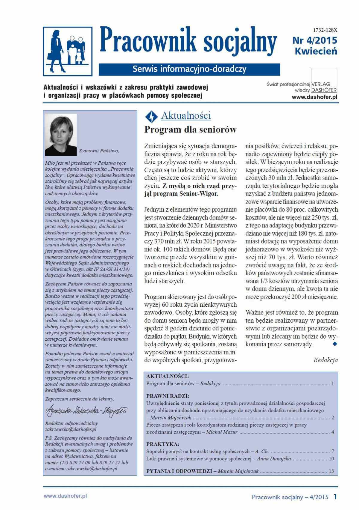 Pracownik socjalny. Aktualności i wskazówki z zakresu praktyki zawodowej i organizacji pracy w placówkach pomocy społecznej. Nr 4/2015 - Ebook (Książka PDF) do pobrania w formacie PDF