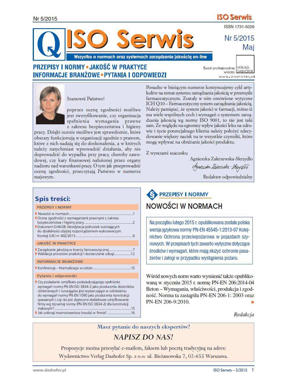 ISO Serwis. Wszystko o normach i systemach zarządzania jakością. Nr 5/2015 - Ebook (Książka PDF) do pobrania w formacie PDF