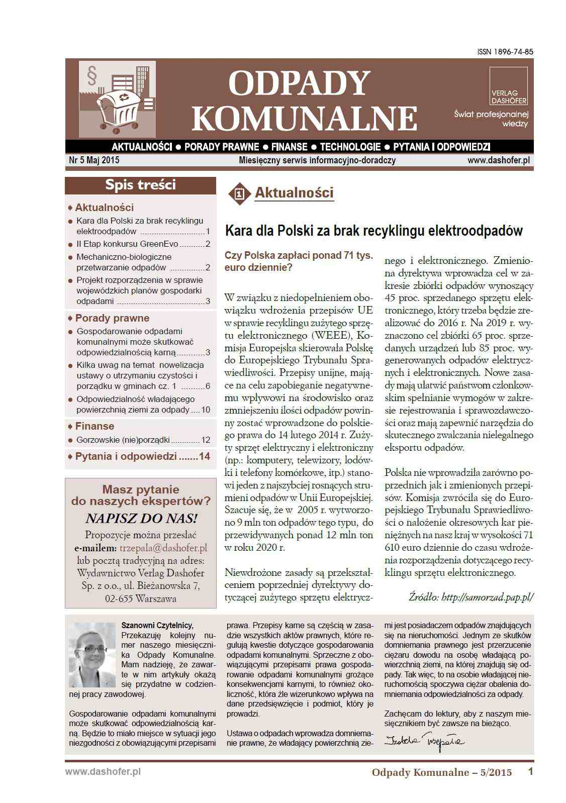Odpady komunalne. Nr 5/2015 - Ebook (Książka PDF) do pobrania w formacie PDF