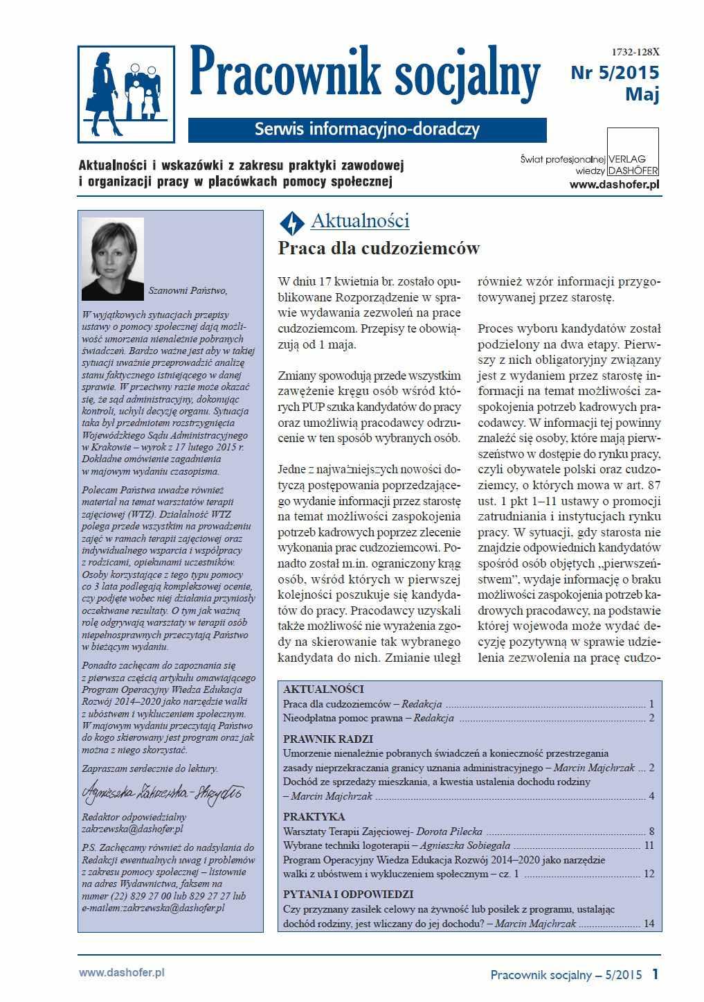 Pracownik socjalny. Aktualności i wskazówki z zakresu praktyki zawodowej i organizacji pracy w placówkach pomocy społecznej. Nr 5/2015 - Ebook (Książka PDF) do pobrania w formacie PDF