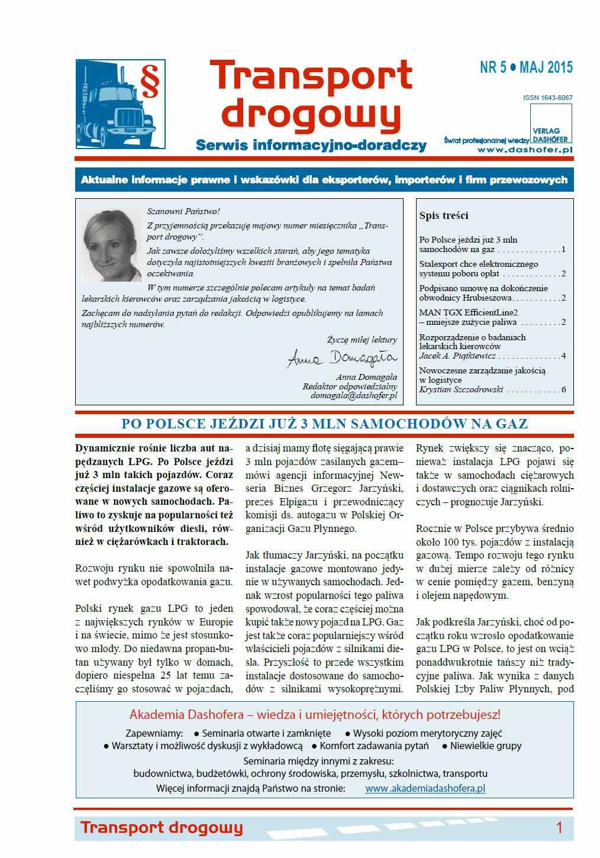 Transport drogowy. Aktualne informacje prawne i wskazówki dla eksporterów, importerów i firm przewozowych. Nr 5/2015 - Ebook (Książka PDF) do pobrania w formacie PDF