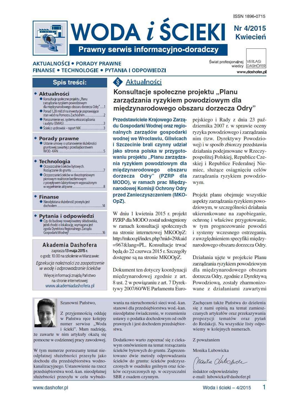 Woda i ścieki. Prawny serwis informacyjno-doradczy. Nr 4/2015 - Ebook (Książka PDF) do pobrania w formacie PDF