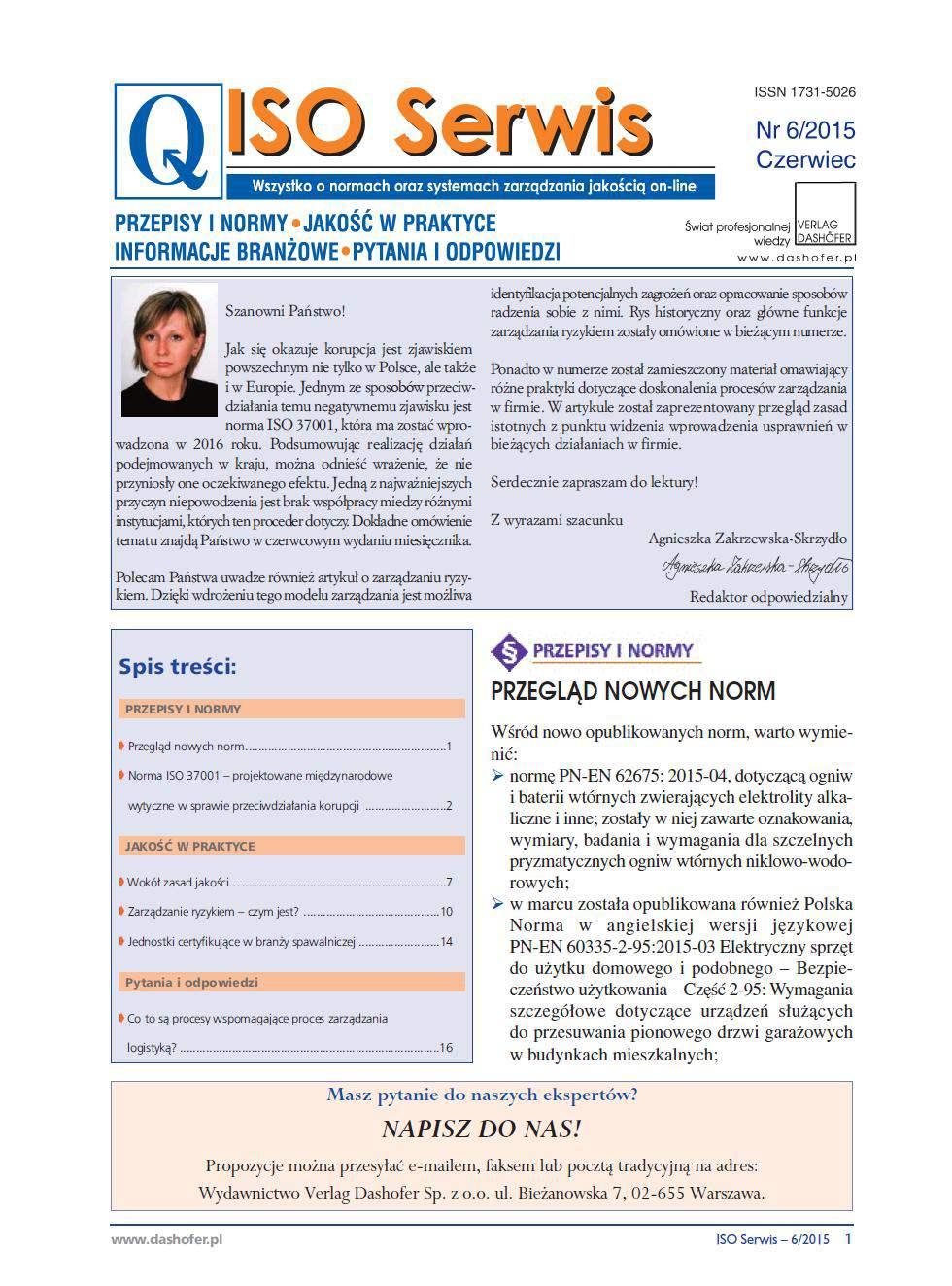 ISO Serwis. Wszystko o normach i systemach zarządzania jakością. Nr 6/2015 - Ebook (Książka PDF) do pobrania w formacie PDF