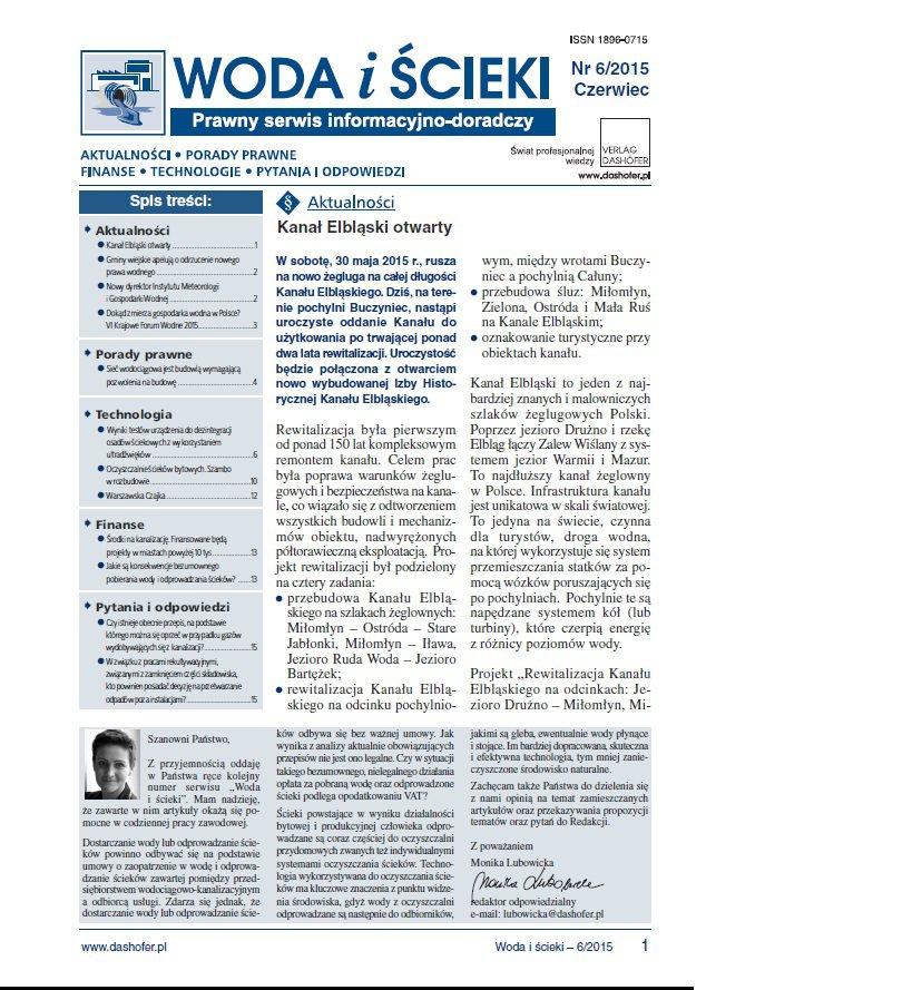 Woda i ścieki. Prawny serwis informacyjno-doradczy. Nr 6/2015 - Ebook (Książka PDF) do pobrania w formacie PDF