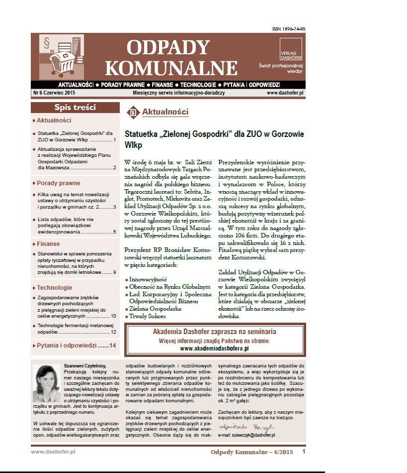 Odpady komunalne. Nr 6/2015 - Ebook (Książka PDF) do pobrania w formacie PDF