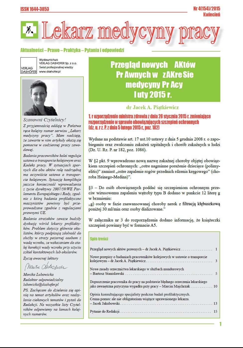 Lekarz Medycyny Pracy. Nr 4/2015 - Ebook (Książka PDF) do pobrania w formacie PDF