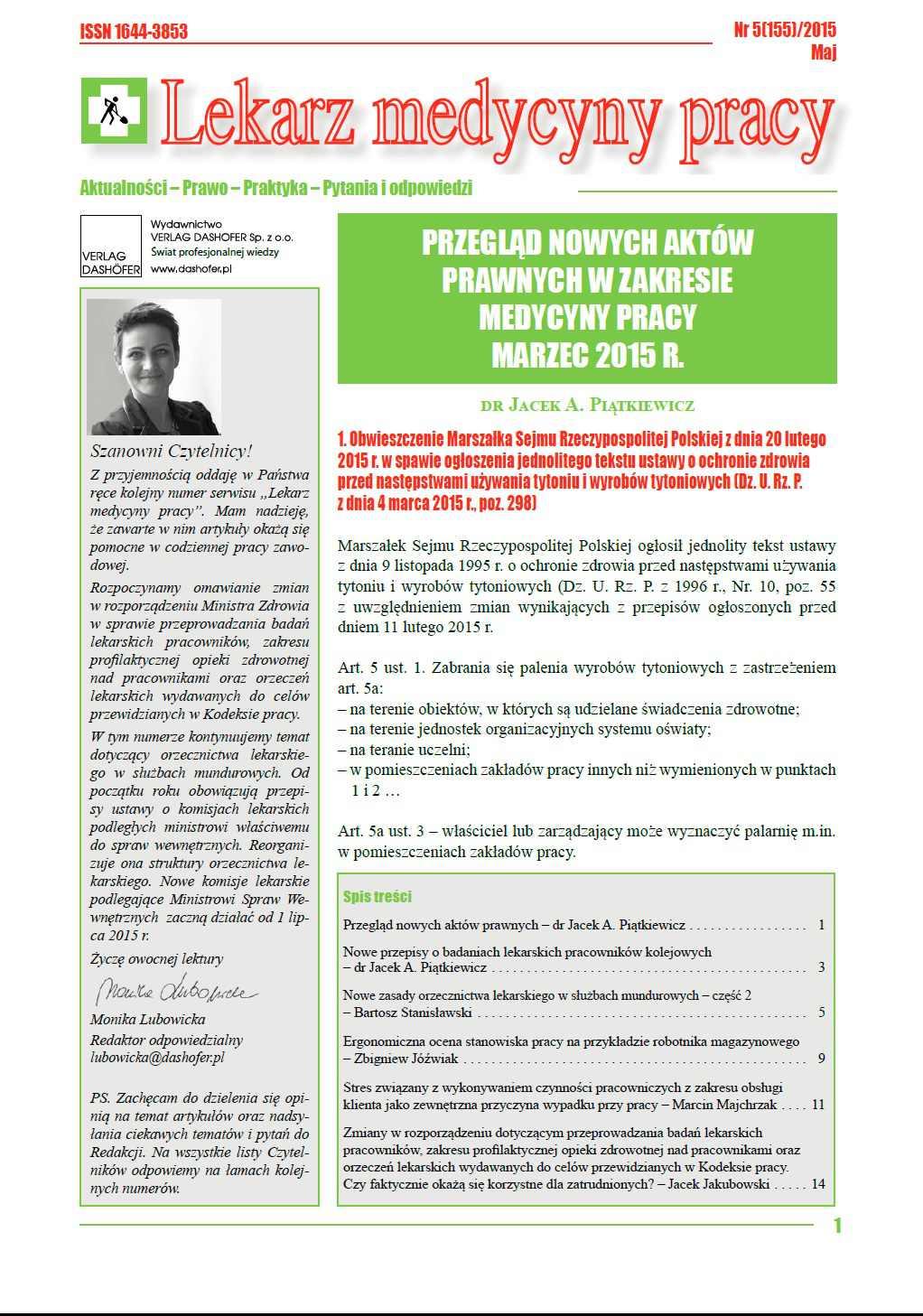 Lekarz Medycyny Pracy. Nr 5/2015 - Ebook (Książka PDF) do pobrania w formacie PDF