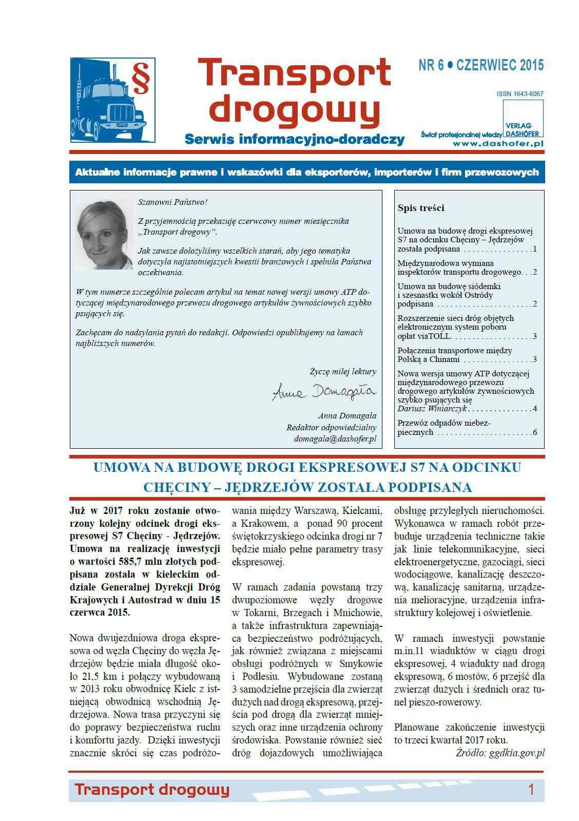 Transport drogowy. Aktualne informacje prawne i wskazówki dla eksporterów, importerów i firm przewozowych. Nr 6/2015 - Ebook (Książka PDF) do pobrania w formacie PDF