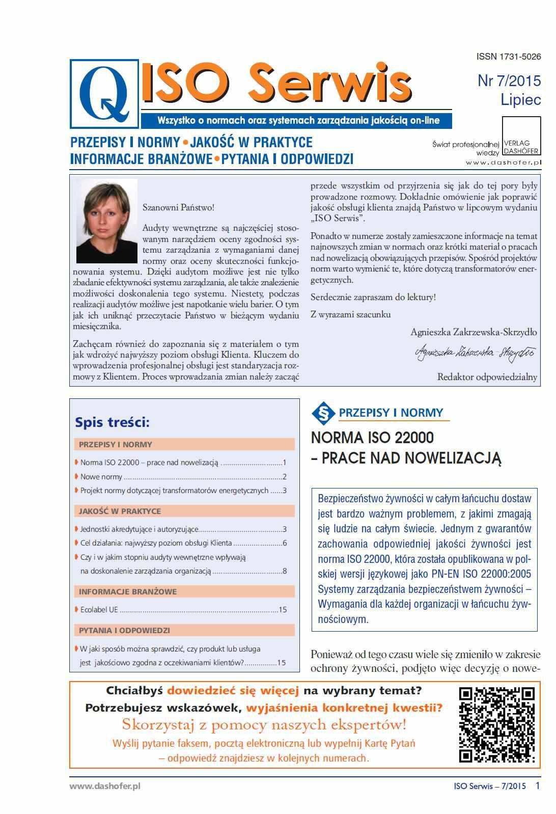 ISO Serwis. Wszystko o normach i systemach zarządzania jakością. Nr 7/2015 - Ebook (Książka PDF) do pobrania w formacie PDF