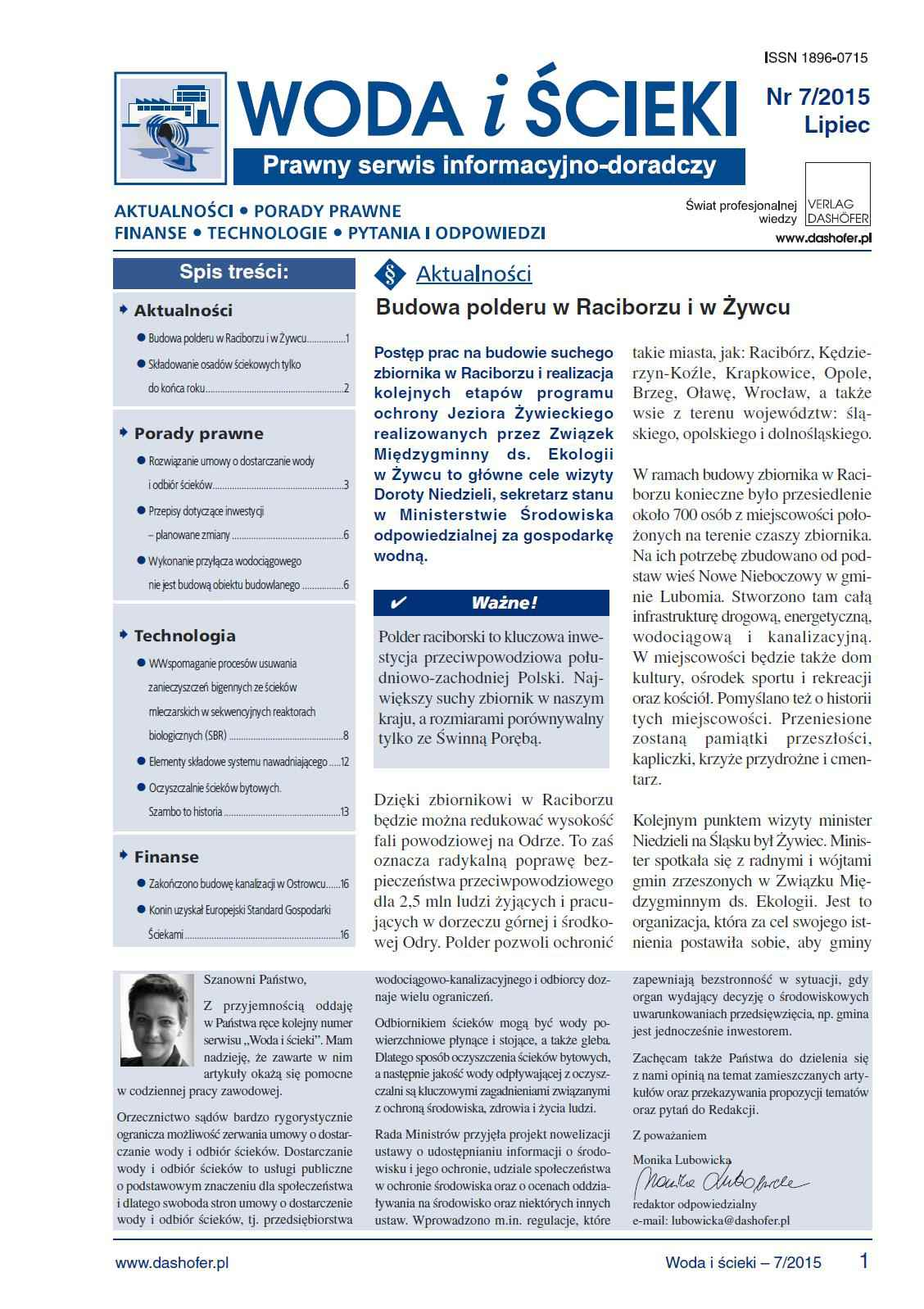 Woda i ścieki. Prawny serwis informacyjno-doradczy. Nr 7/2015 - Ebook (Książka PDF) do pobrania w formacie PDF