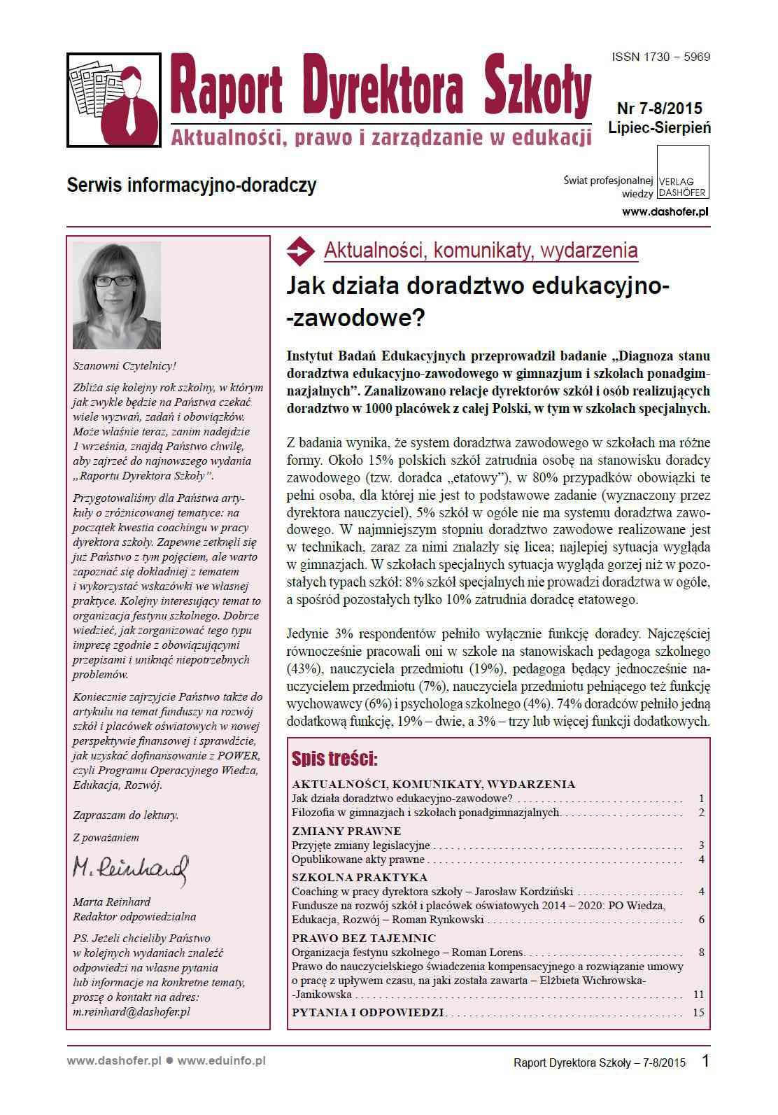 Raport Dyrektora Szkoły. Aktualności, prawo i zarządzanie w edukacji. Nr 7-8/2015 - Ebook (Książka PDF) do pobrania w formacie PDF