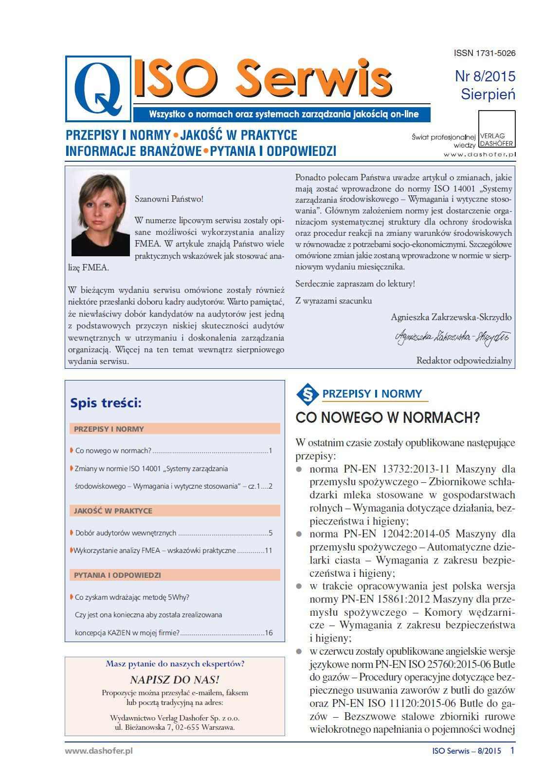 ISO Serwis. Wszystko o normach i systemach zarządzania jakością. Nr 8/2015 - Ebook (Książka PDF) do pobrania w formacie PDF