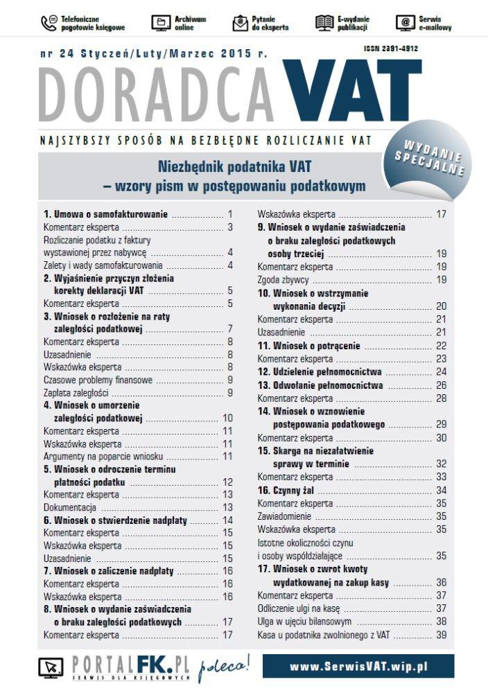 Doradca VAT - wydanie specjalne: Niezbędnik podatnika VAT – wzory pism w postępowaniu podatkowym - Ebook (Książka PDF) do pobrania w formacie PDF