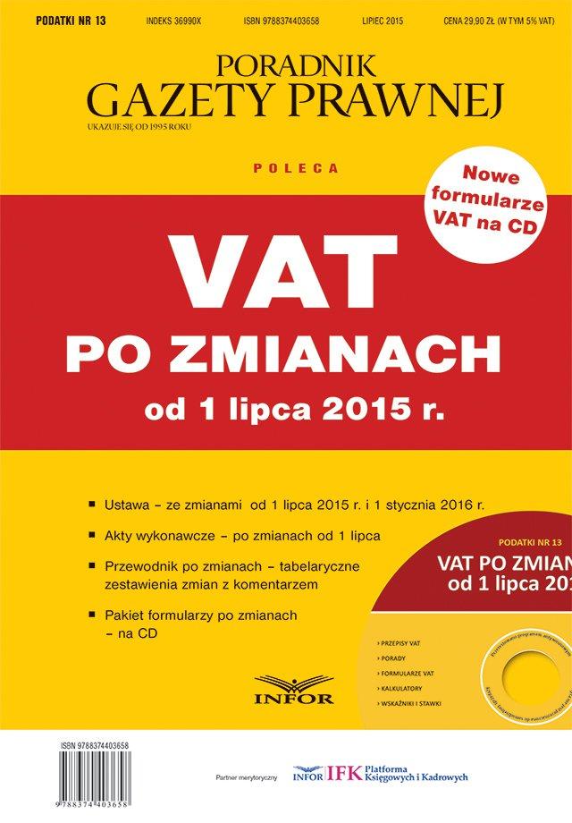PODATKI 13 - VAT po zmianach od 1 lipca 2015 r - Ebook (Książka EPUB) do pobrania w formacie EPUB