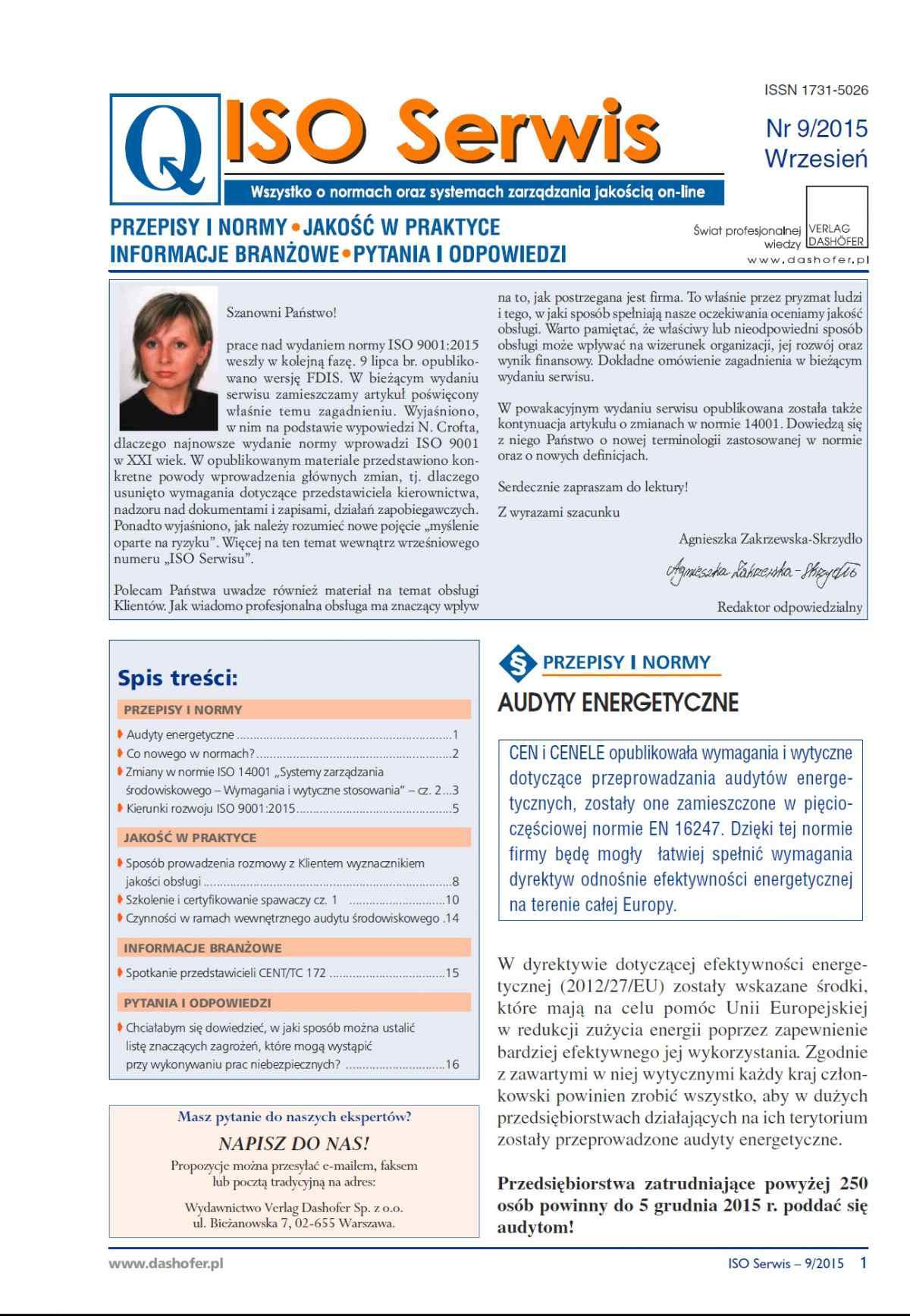 ISO Serwis. Wszystko o normach i systemach zarządzania jakością. Nr 9/2015 - Ebook (Książka PDF) do pobrania w formacie PDF