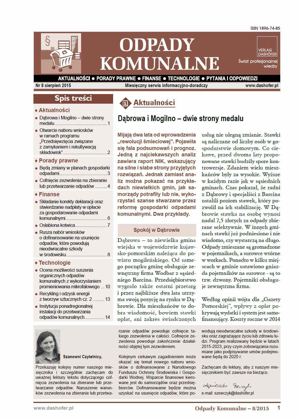 Odpady komunalne. Nr 8/2015 - Ebook (Książka PDF) do pobrania w formacie PDF