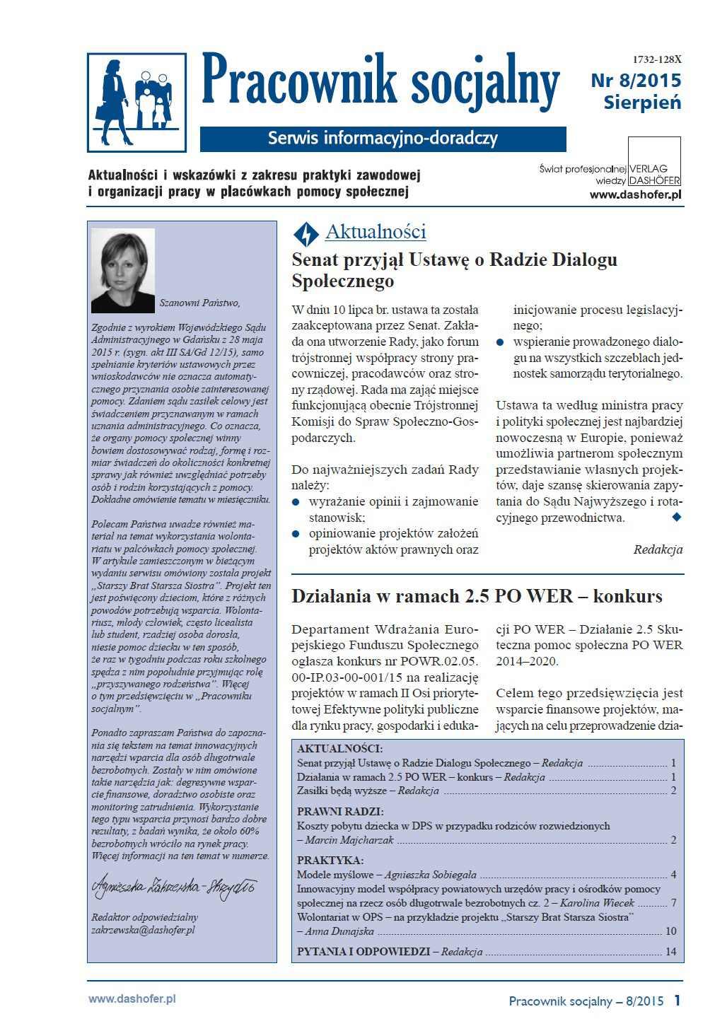 Pracownik socjalny. Aktualności i wskazówki z zakresu praktyki zawodowej i organizacji pracy w placówkach pomocy społecznej. Nr 8/2015 - Ebook (Książka PDF) do pobrania w formacie PDF