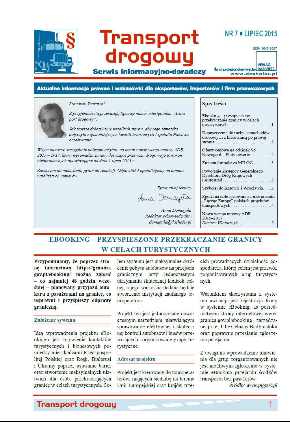 Transport drogowy. Aktualne informacje prawne i wskazówki dla eksporterów, importerów i firm przewozowych. Nr 7/2015 - Ebook (Książka PDF) do pobrania w formacie PDF