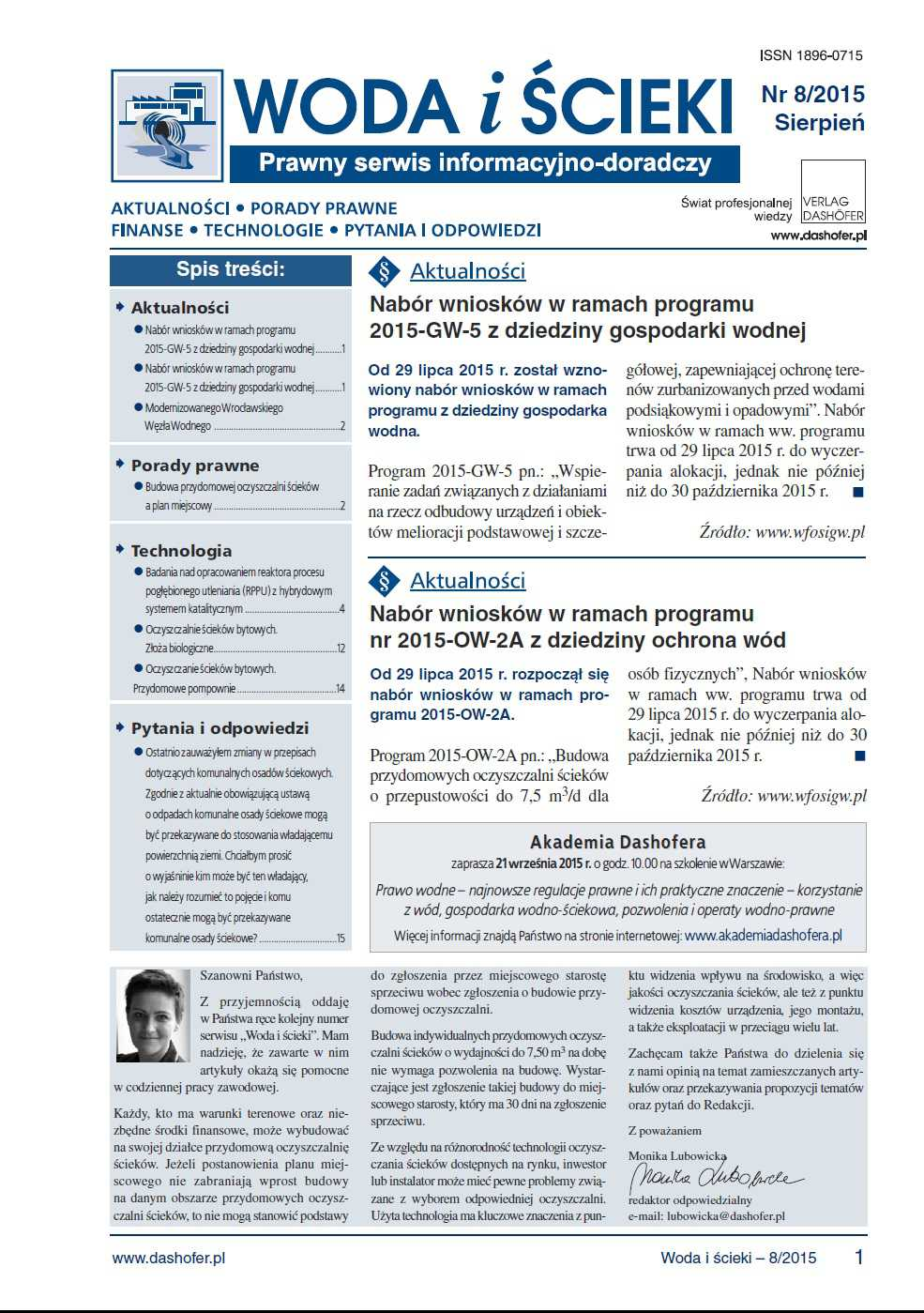 Woda i ścieki. Prawny serwis informacyjno-doradczy. Nr 8/2015 - Ebook (Książka PDF) do pobrania w formacie PDF